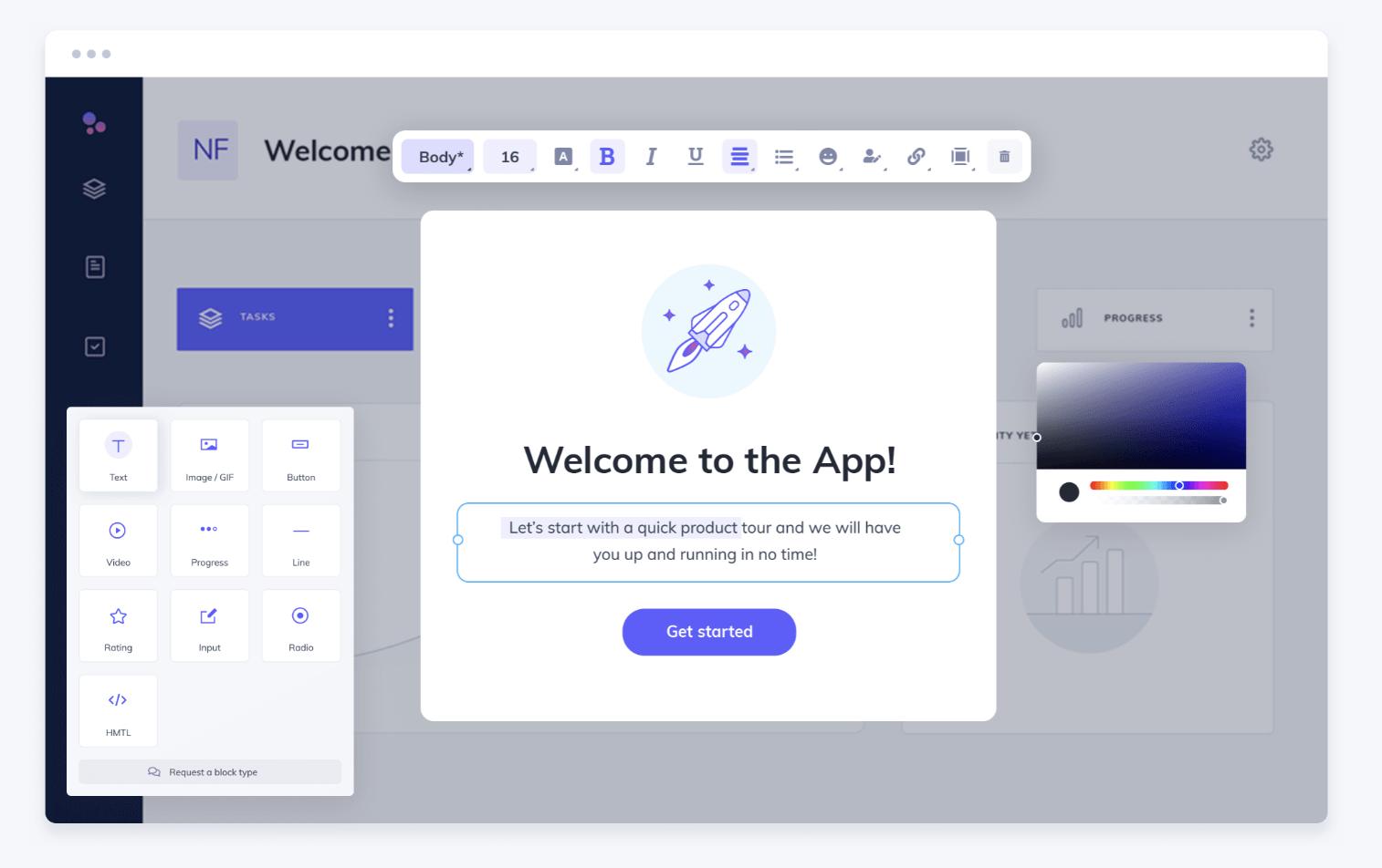 Appcues welcome screenshot