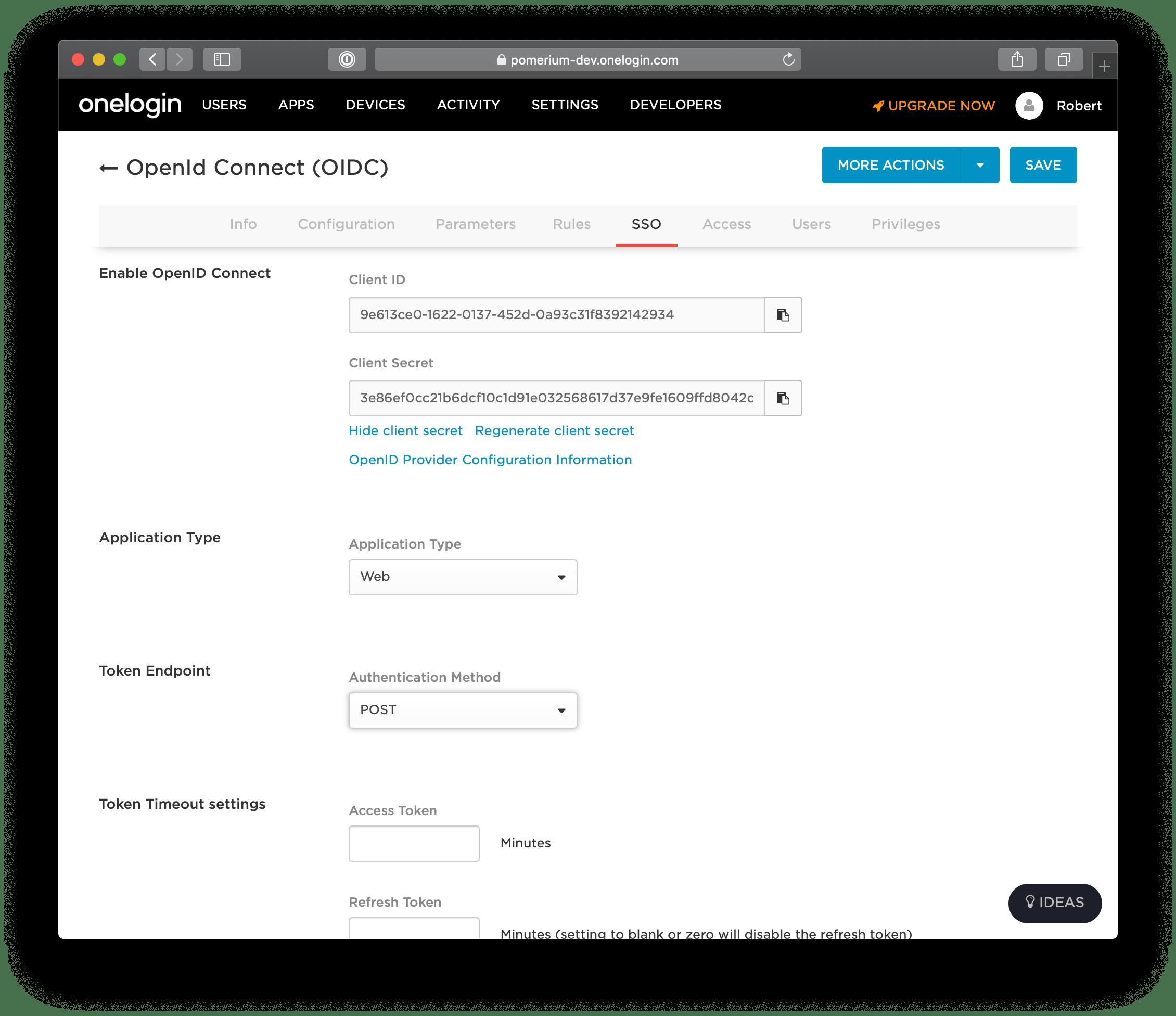 One Login SSO settings