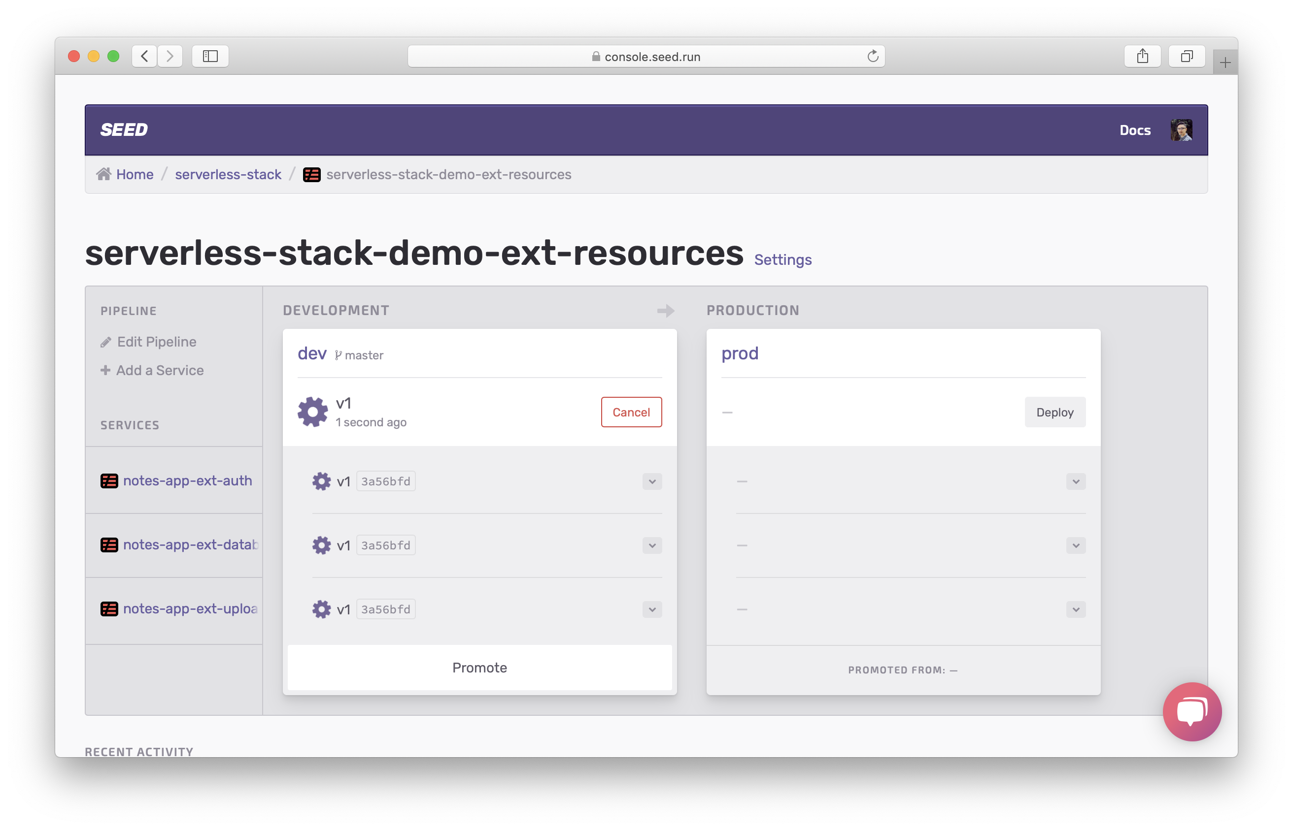 Show services are deploying in dev stage