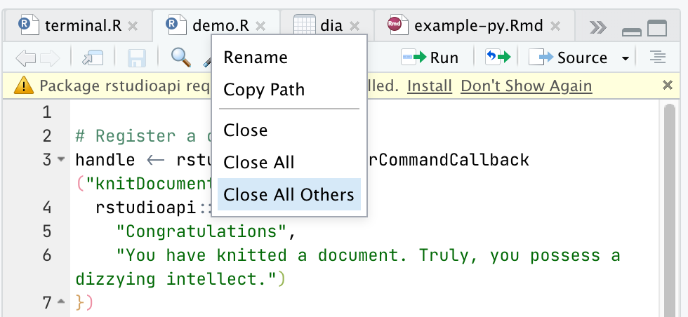 Screenshot of RStudio's document tab context menu, showing actions that can be taken on the document