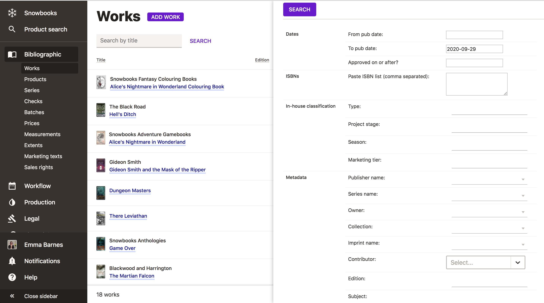 Advanced search screenshot