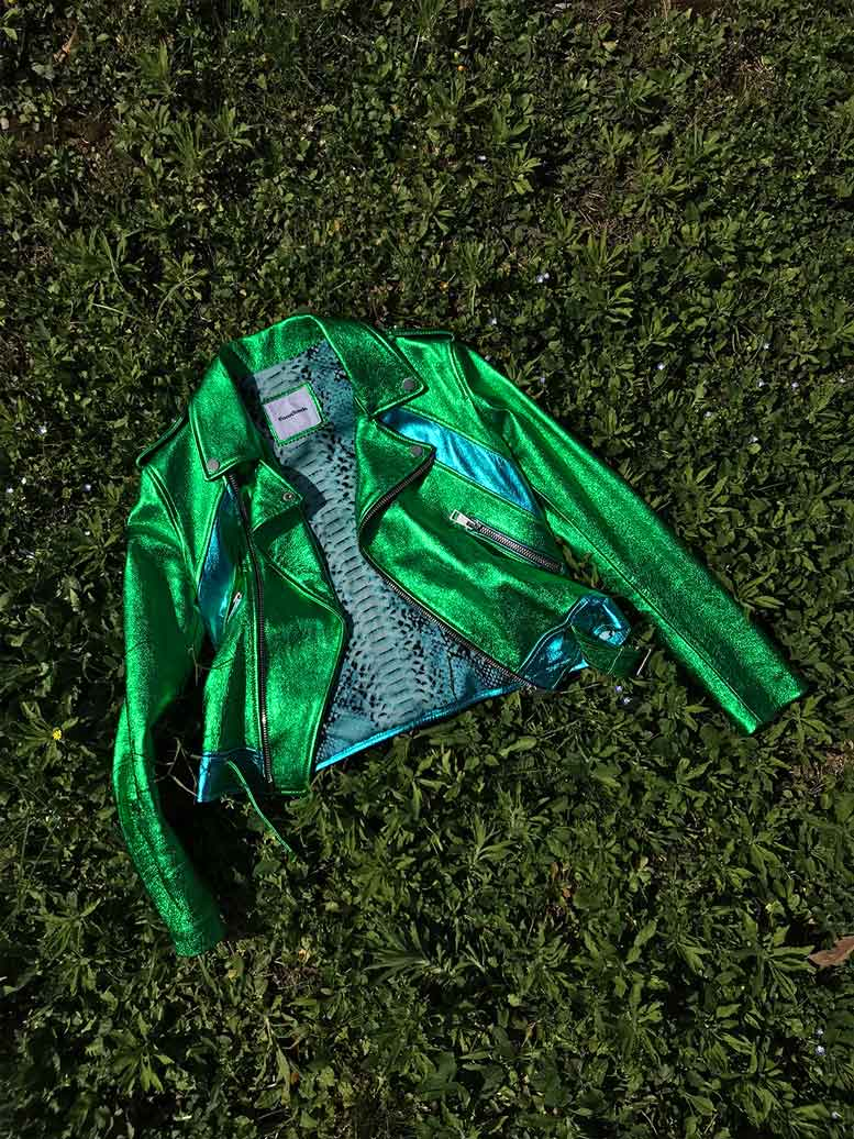 COCOCLOUDE - laminated leather jacket Green