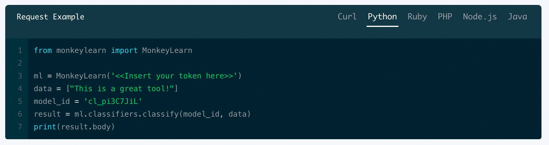Classify new text programmatically via an API