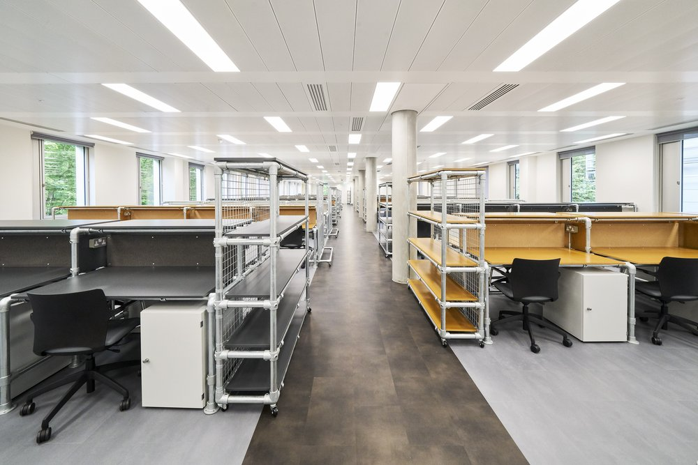 Photograph of office-like interior of RCA White City