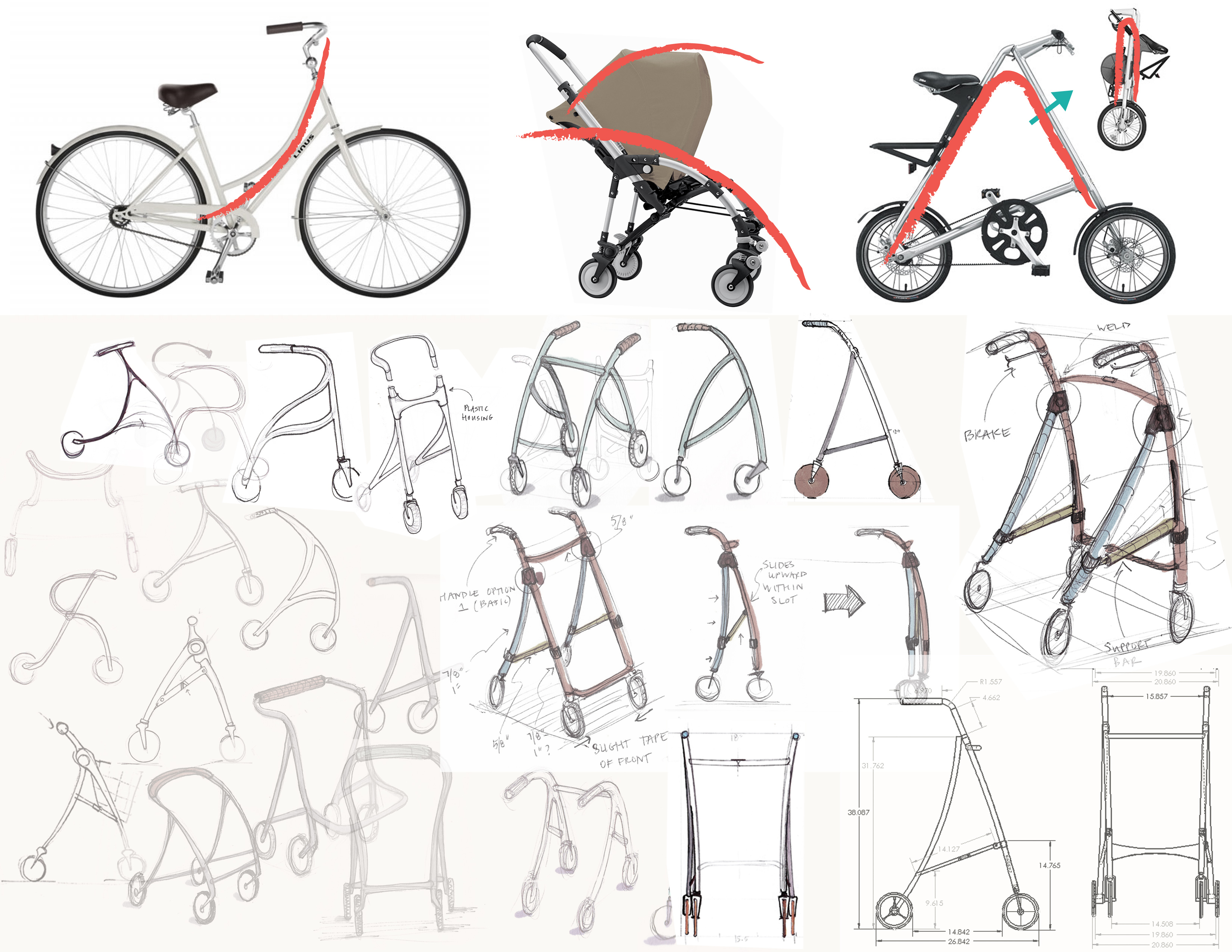 A drawing with 2 dozen or so sketches and images of wheeled gear, with directional red lines indicating their axes of movement. Bikes, strollers and all forms of walker prototypes.