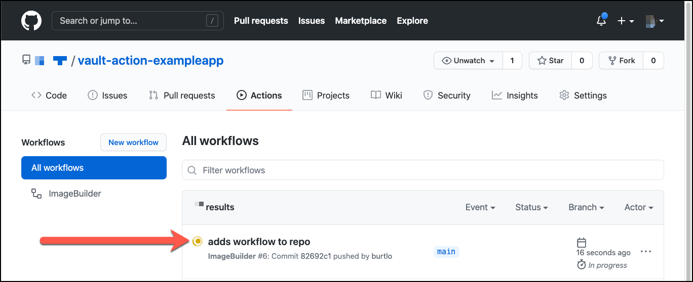 GitHub repo actions result