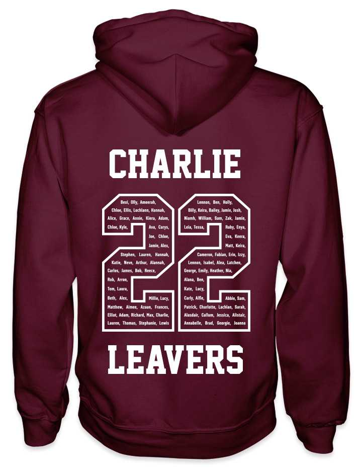 leavers hoodies classic varsity design with a nickname printed across shoulders, names in a number 22, leavers printed at the bottom