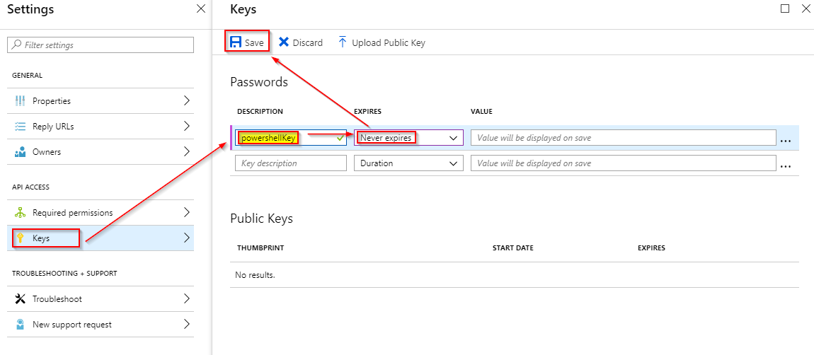 Image depicting how to generate an api key for azure ad