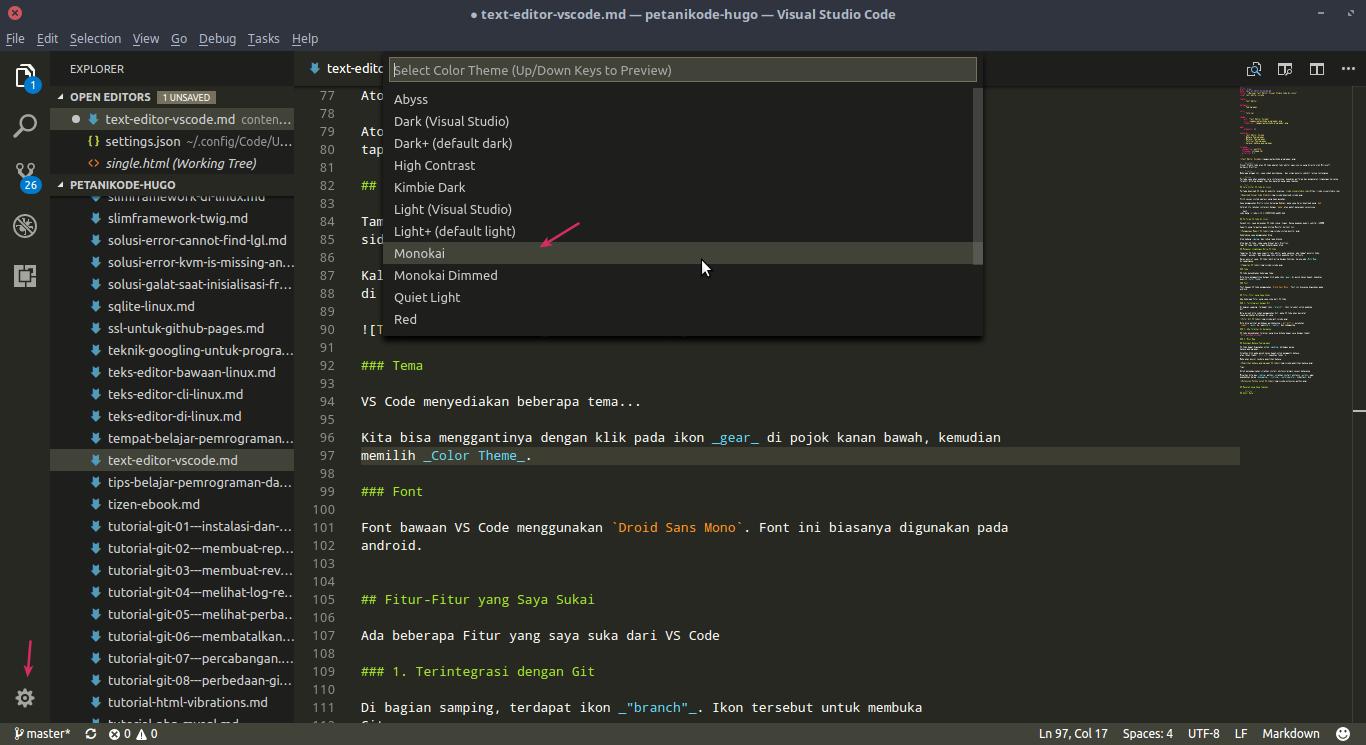 Memilih Tema VS Code