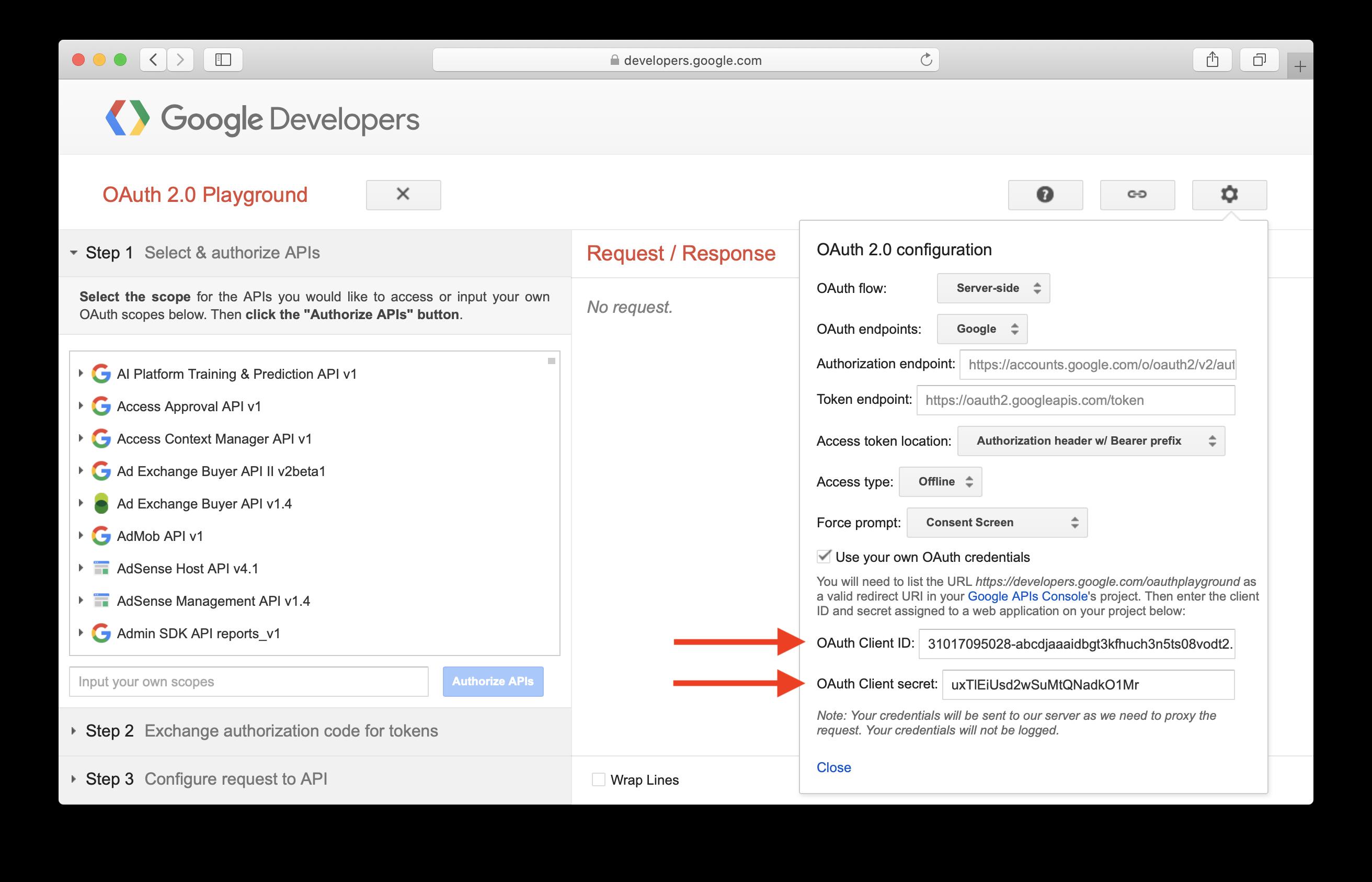 Set Google OAuth Playground Setting