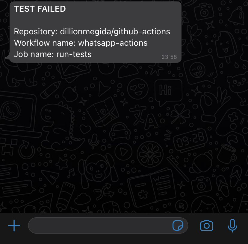 Screenshot of WhatsApp message sent to a whitelisted number
