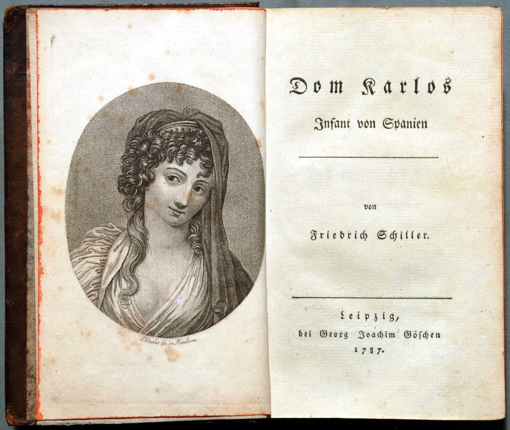 Титульный лист и фронтиспис первого издания исторической драмы Шиллера «Дон Карлос», 1787. Источник: wikipedia.org