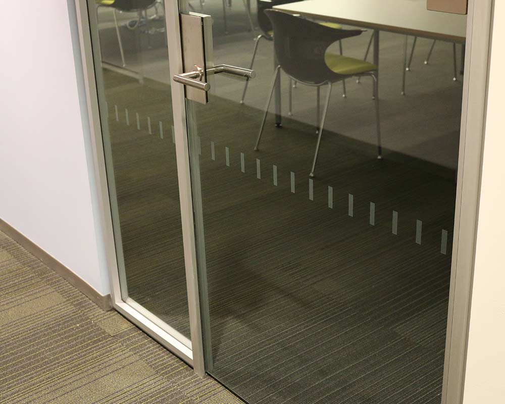 Glass Doors with Finished Drywall