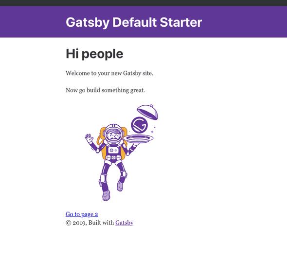localhost:8000 Gatsby homepage
