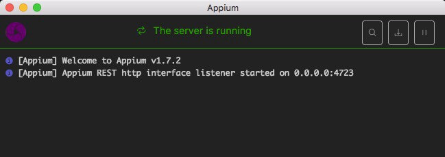 Appium desktop application successfully installed. The Appium server is now ready to run tests