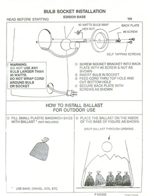 TPI Plastics Bulb Socket Installation Edison Base Instruction Manual preview