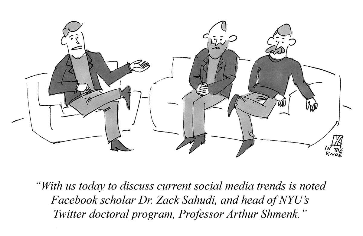 With us today to discuss current social media trends is noted Facebook scholar Dr. Zack Sahudi, and head of NYU's Twitter doctoral program, Professor Arthur Shmenk.