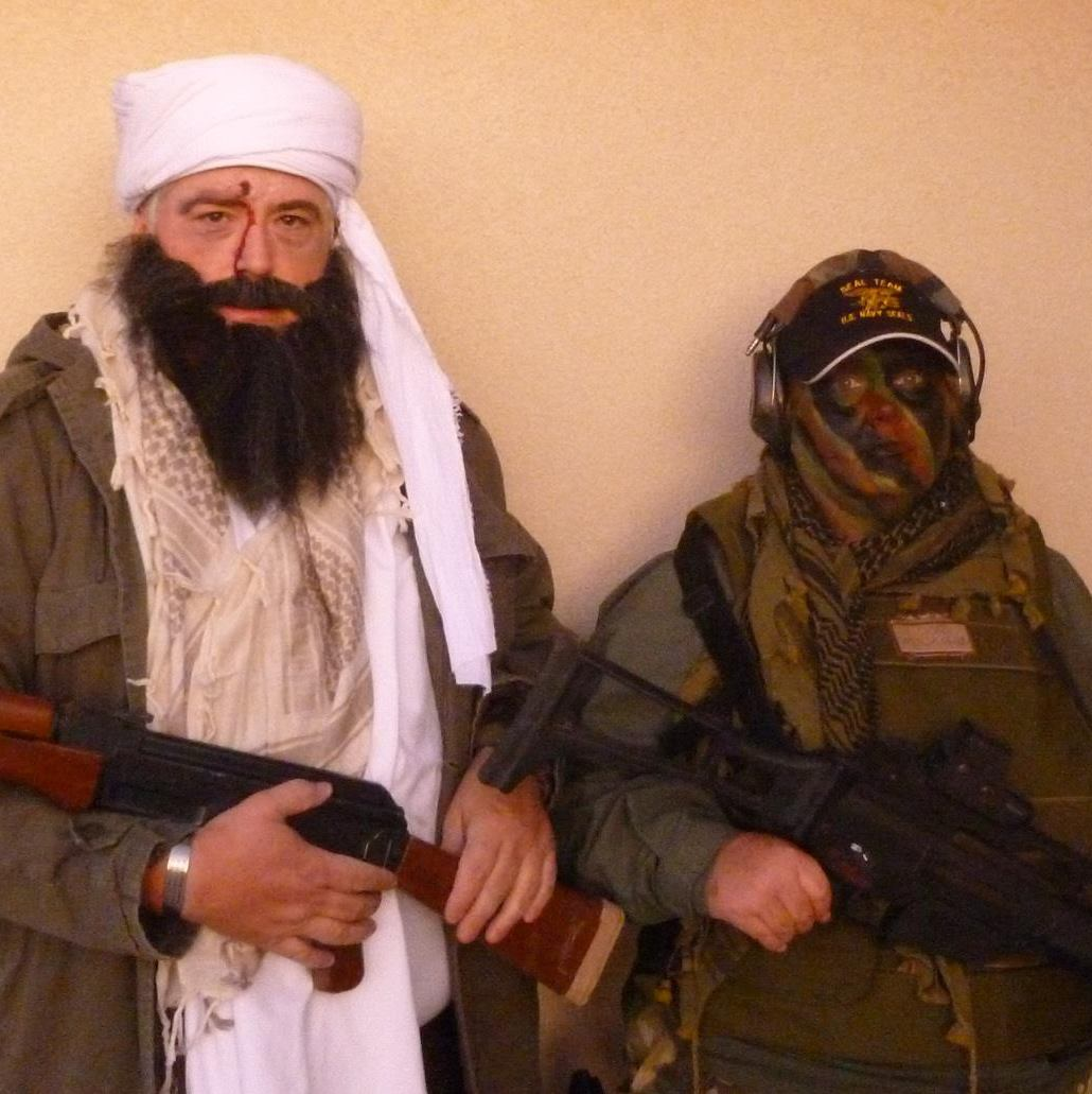 Watson dressed up as a racist caricature of Osama Bin Laden.