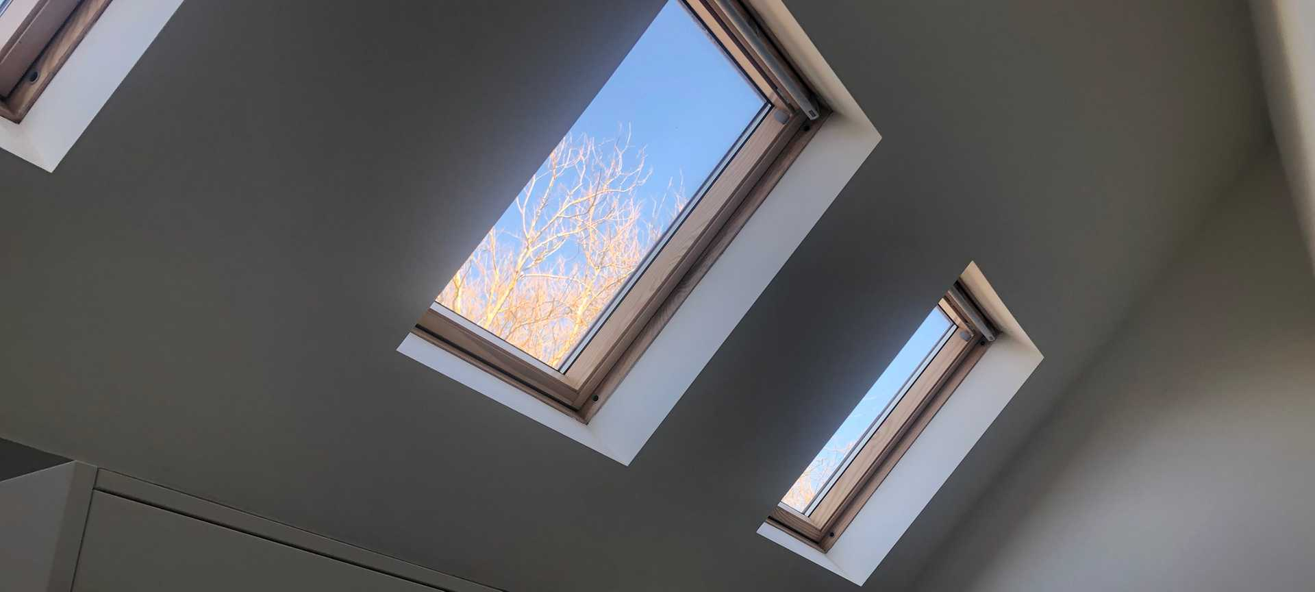 New Velux roof lights installed in a properties kitchen