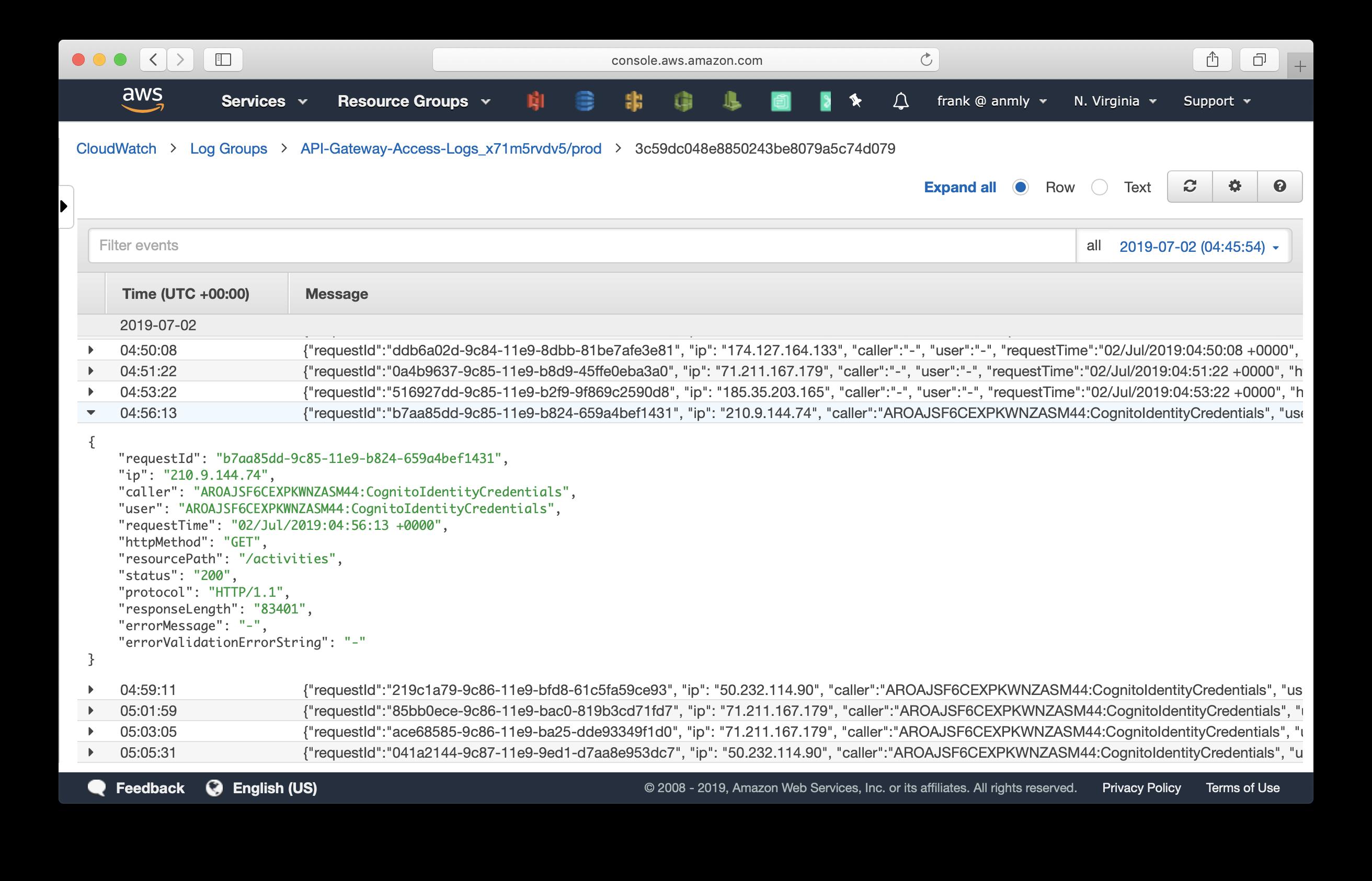 CloudWatch API Gateway Access Logs details