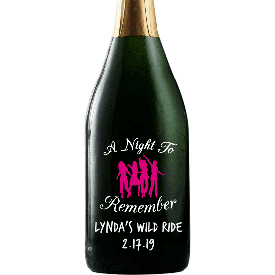 Champagne with A Night to Remember etched for bachelorette party by Etching Expressions