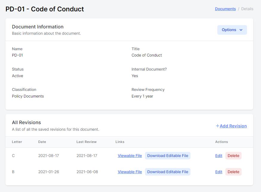 Document management details screenshot