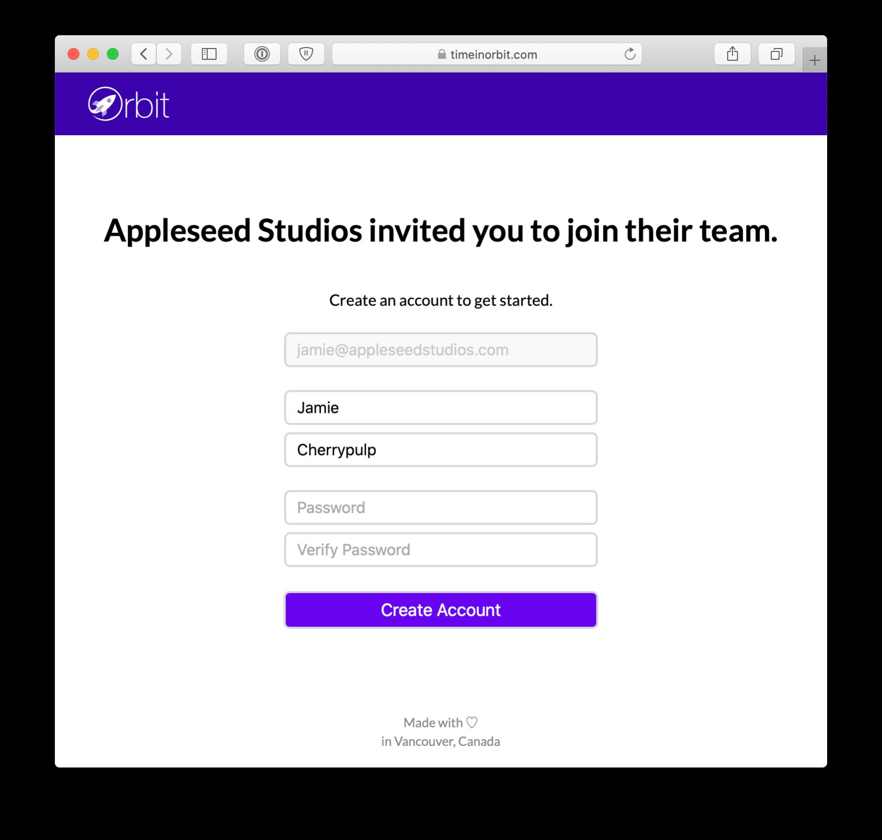 Accept Invitation Screen