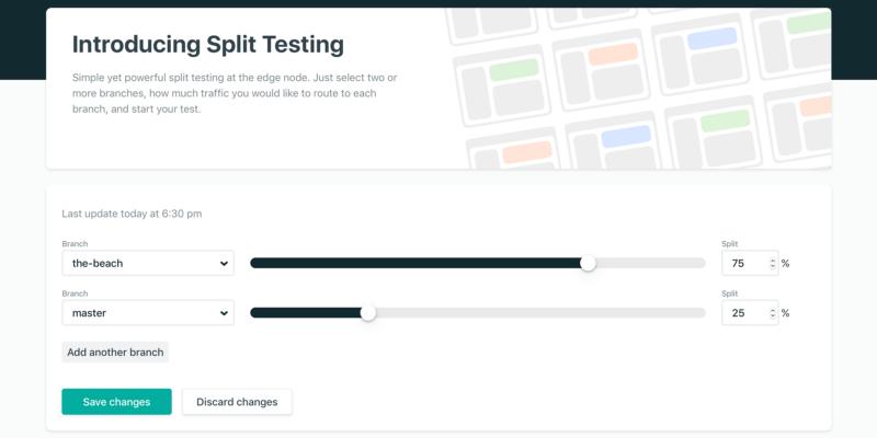 La configuration du split testing chez Netlify