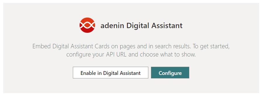 Digital Assistant web part editor view