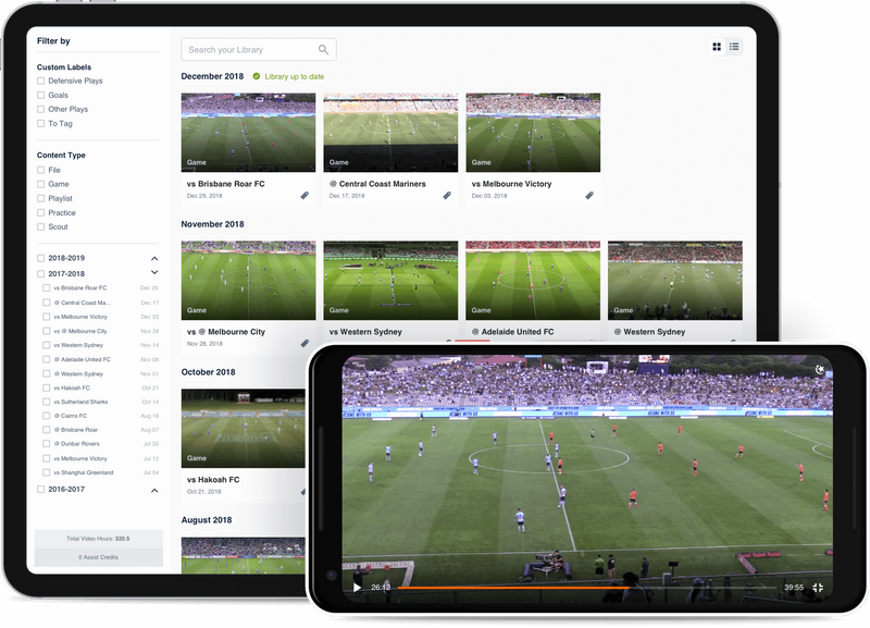Hudl video library on tablet and smartphone