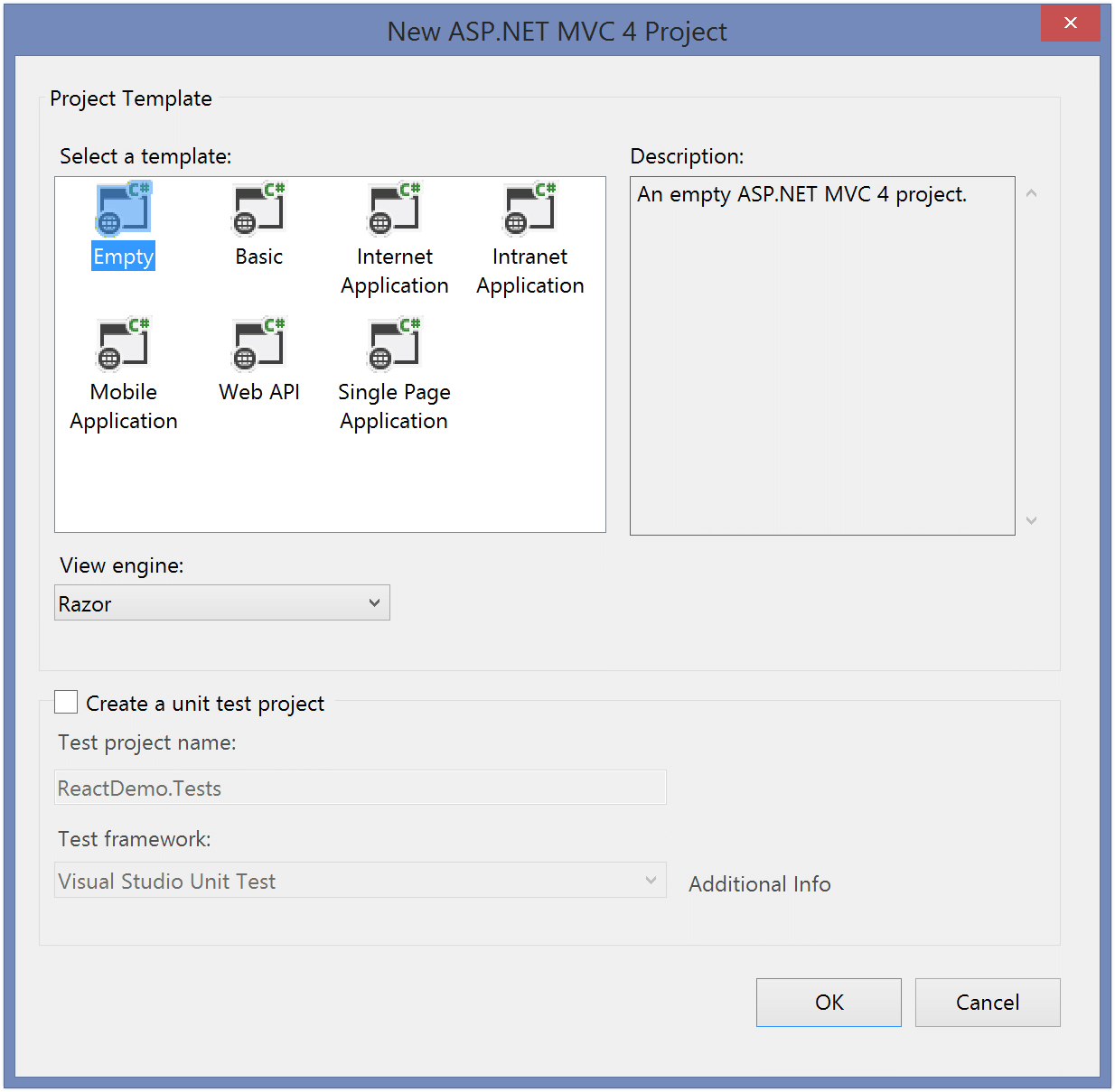 Screenshot: New ASP.NET MVC 4 Project dialog