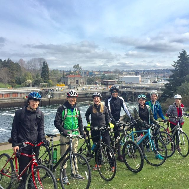 A photo of the Emerald City tour which features iconic landmarks like The Space Needle, Amazon HQ1 and the Ballard locks