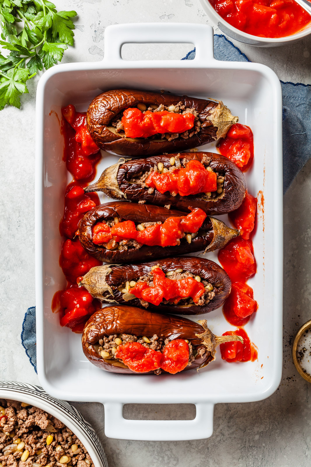 Middle Eastern Meat Stuffed Eggplant