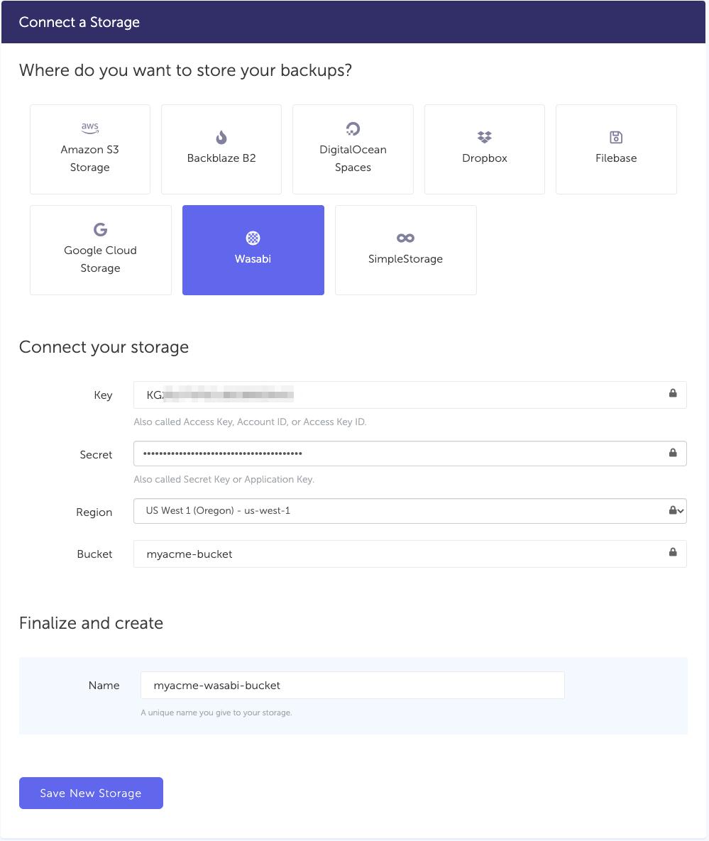 Wasabi - storage connection