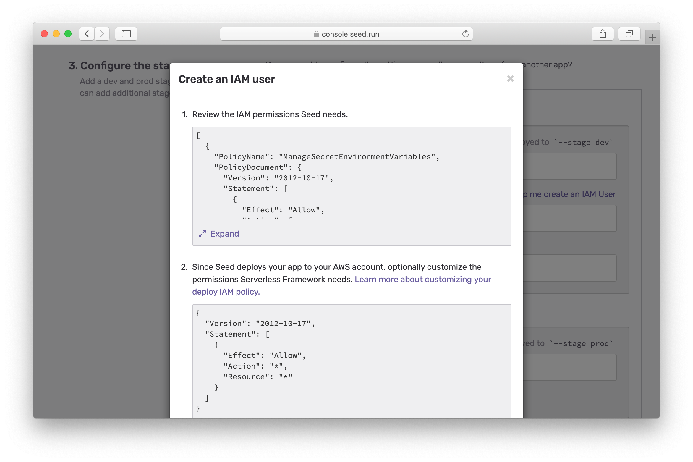 Review Seed IAM permissions screenshot