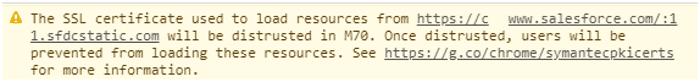 Screenshot of SSL Certificate error