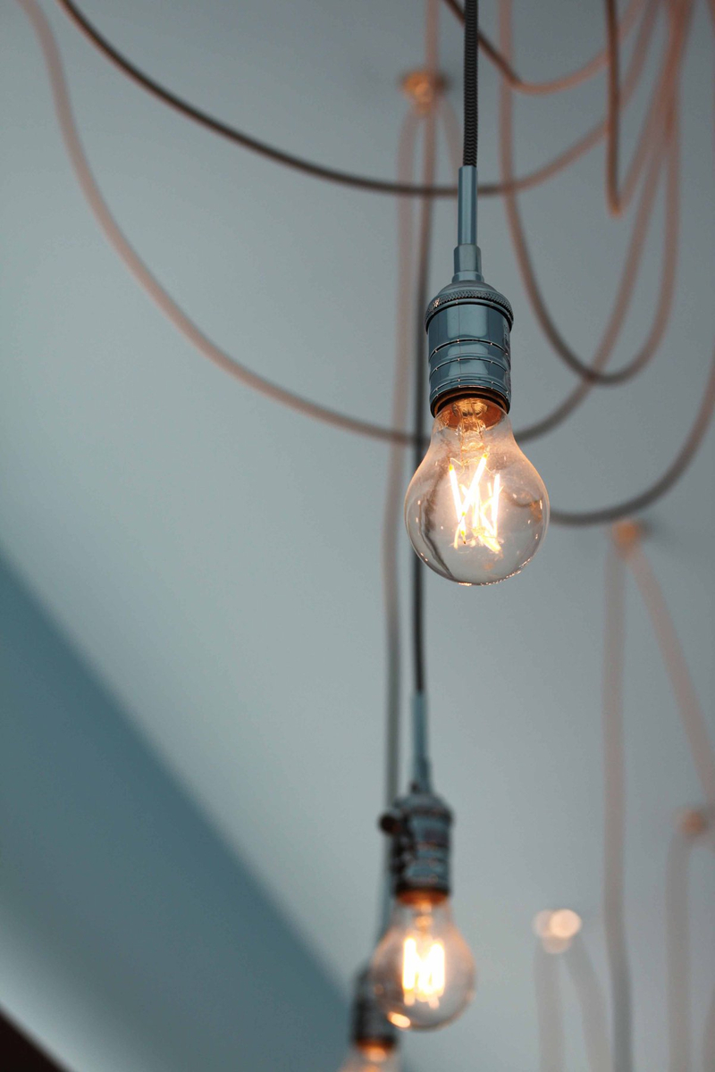 Light bulbs hang from ceiling wires