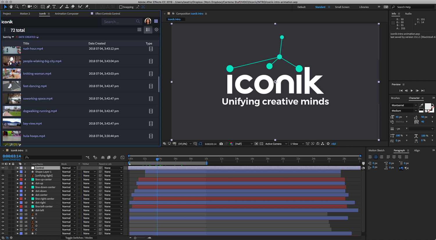 iconik panel integration with Adobe After Effects screenshot