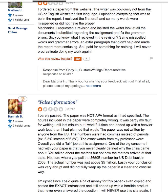 customwritings.com has too much negative reviews on sitejabber