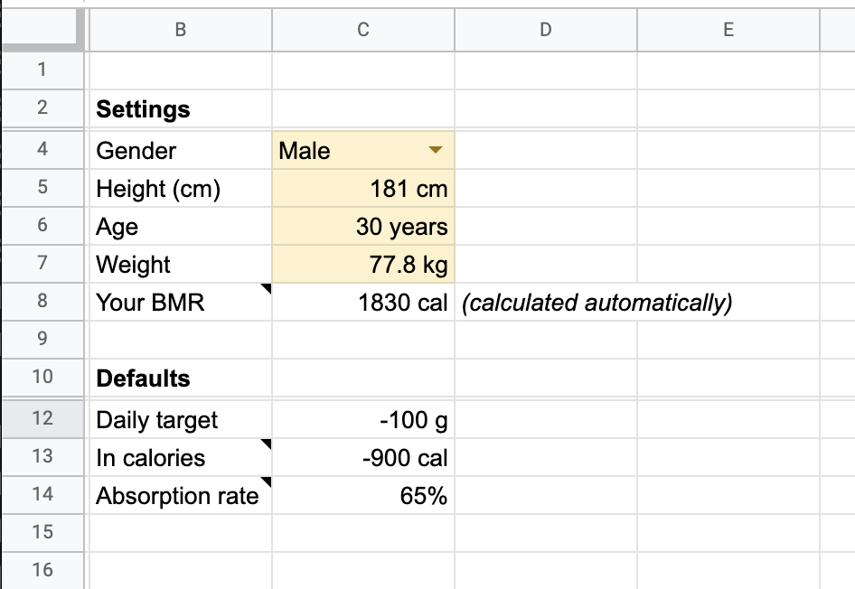 Google Sheet with Settings