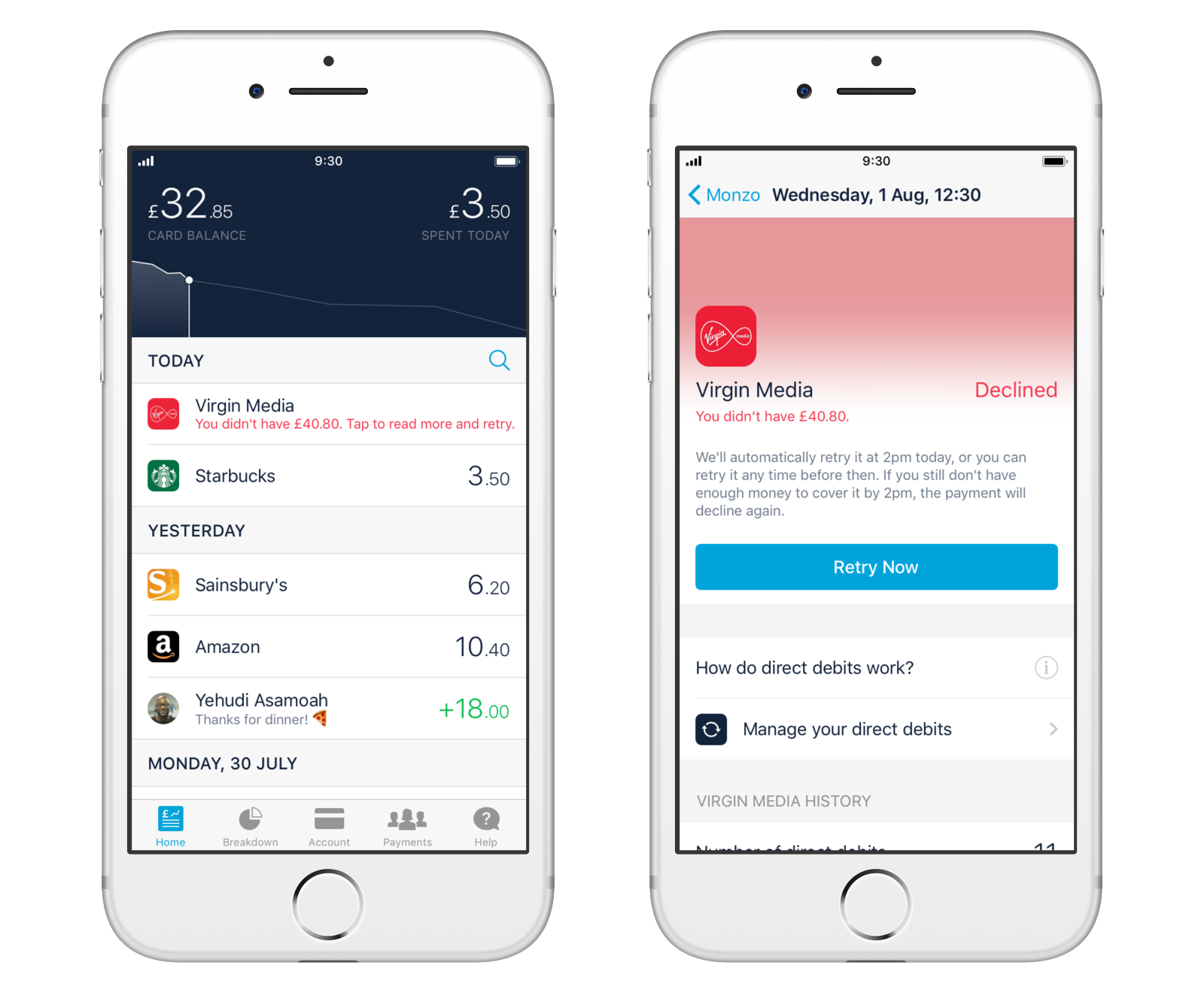Screenshot showing direct debit retries