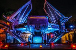 A well-lit spaceship