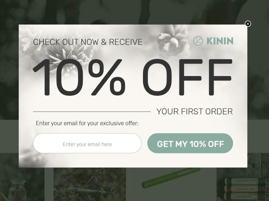 Kinin 10% off popup