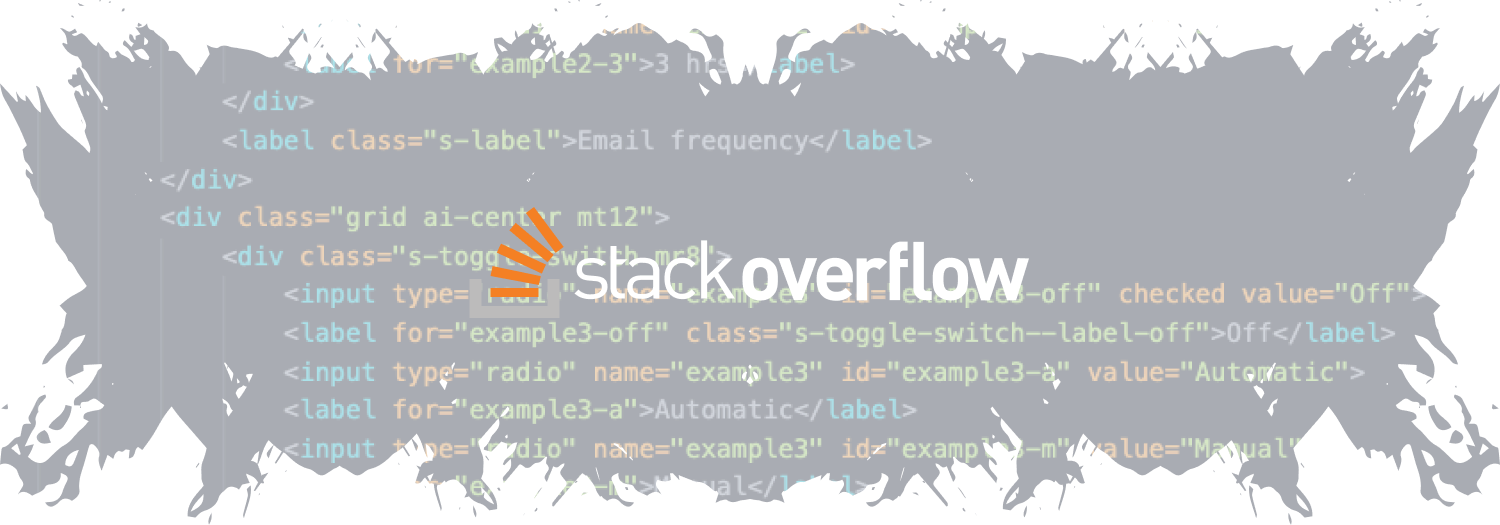 Stack Overflow logo on top of code.
