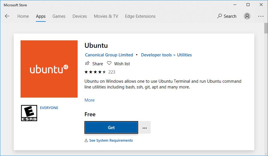 Install Ubuntu on Windows subsystem for linux