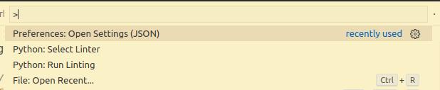 Visual Studio Code command palette
