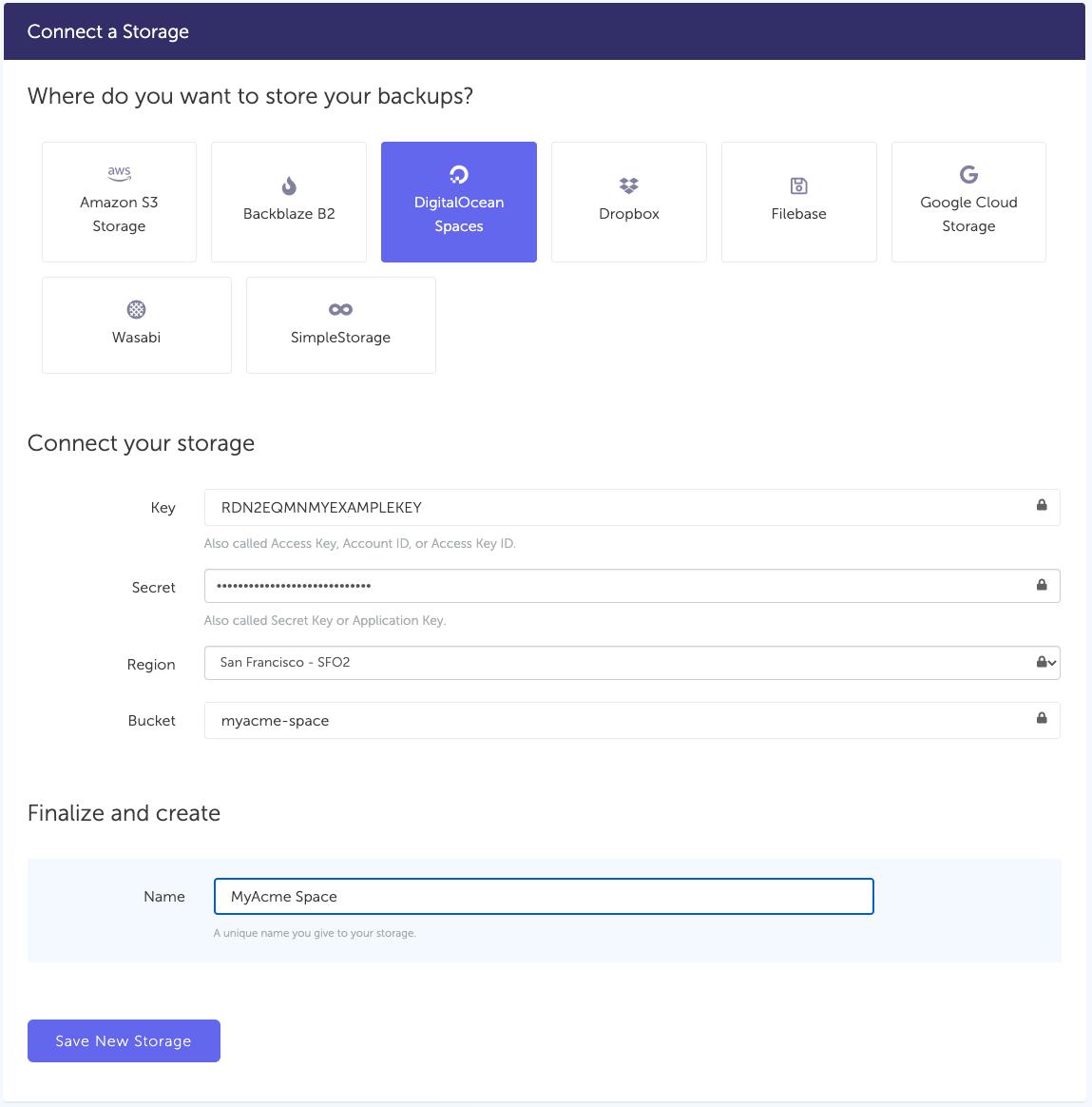 Connect  DigitalOcean storage to SimpleBackups