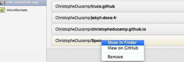 UI Github pour Mac
