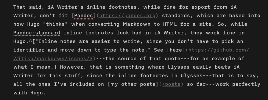 Screen capture from iA Writer software showing how footnotes look in it