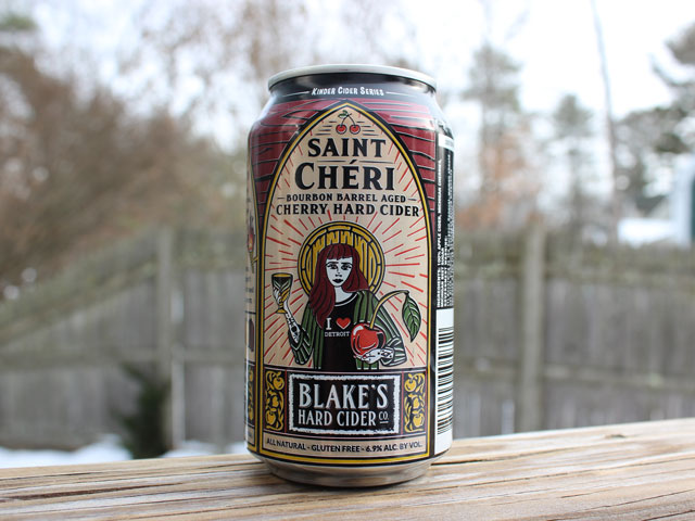 Saint Cheri, a Bourbon Barrel-Aged Cherry Hard Cider brewed by Blake's Hard Cider Company